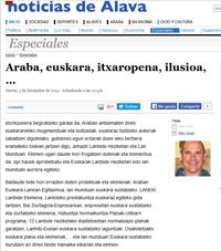 """""""Araba, euskara, itxaropena, ilusioa, …""""(Noticias de Álava, 2015/12/03)"""