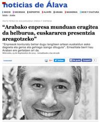 'Arabako enpresa munduan eragitea da helburua, euskararen presentzia areagotzeko' (Noticias de Álava, 2015/09/23)